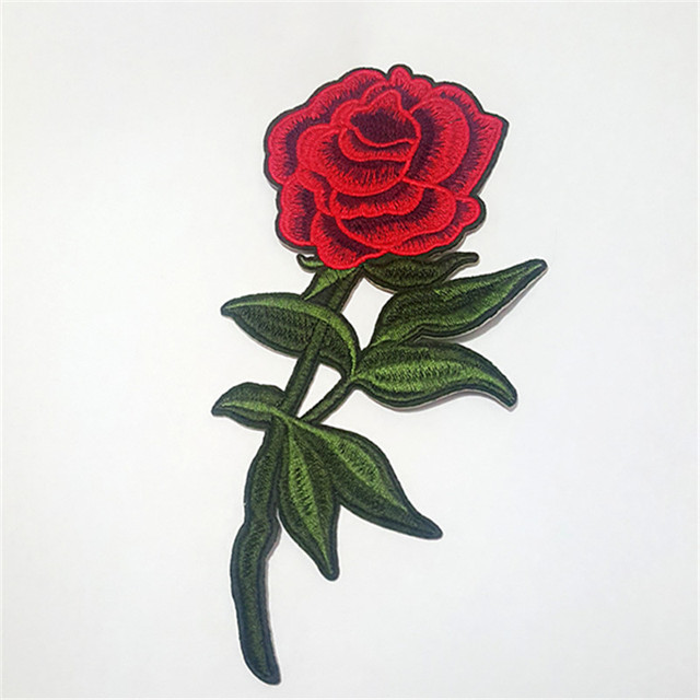 b9e07bde4d5ab3 1 Pcs Top Patches Iron-on Red Rose Flower Embroidery Patch Motif Applique  Children Women DIY Clothes Sticker Wedding Patches