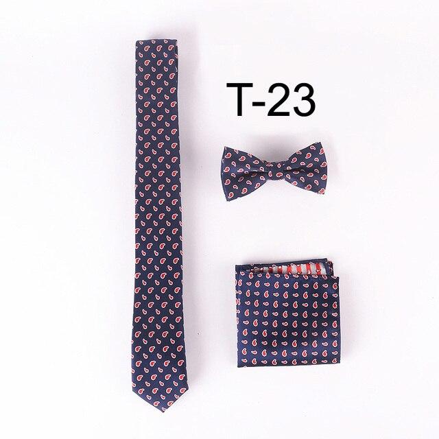 Lingyao уникальный конструктор галстуки комплект 5 см классический пейсли галстук с носовой платок и bowties ( рулевой + + платок боути )