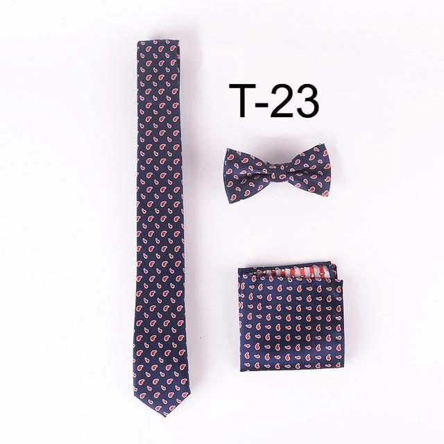 Lingyao unique designer ties set  5cm classic paisley necktie with hanky & bowties (Tie + handkerchief + Bowtie)