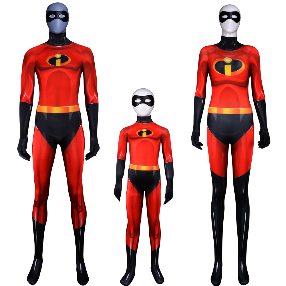 The Mr Incredible Costume Faminly incredible Cosplay Spandex Suit For Adult//Kids