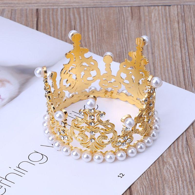 Baby Crown Photography Props Luxury Fashion Pearl Rhinestone Glitter Gold Silver Photo Birthday Party Decoration Girls Princess Headband Headdress Decor