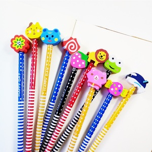 Image 5 - 50 Pcs/lot Wood Gift Pencil With Animals Eraser Head Christmas Gift For Kids Cute Fashion Party Favors Pencil School Supplies