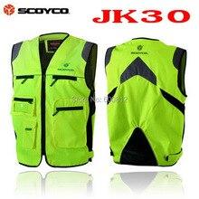 SCOYCO JK30 motorcycle reflective clothing vest motorbike night safety clothes jacket made of Polyester fiber Fluorescent green