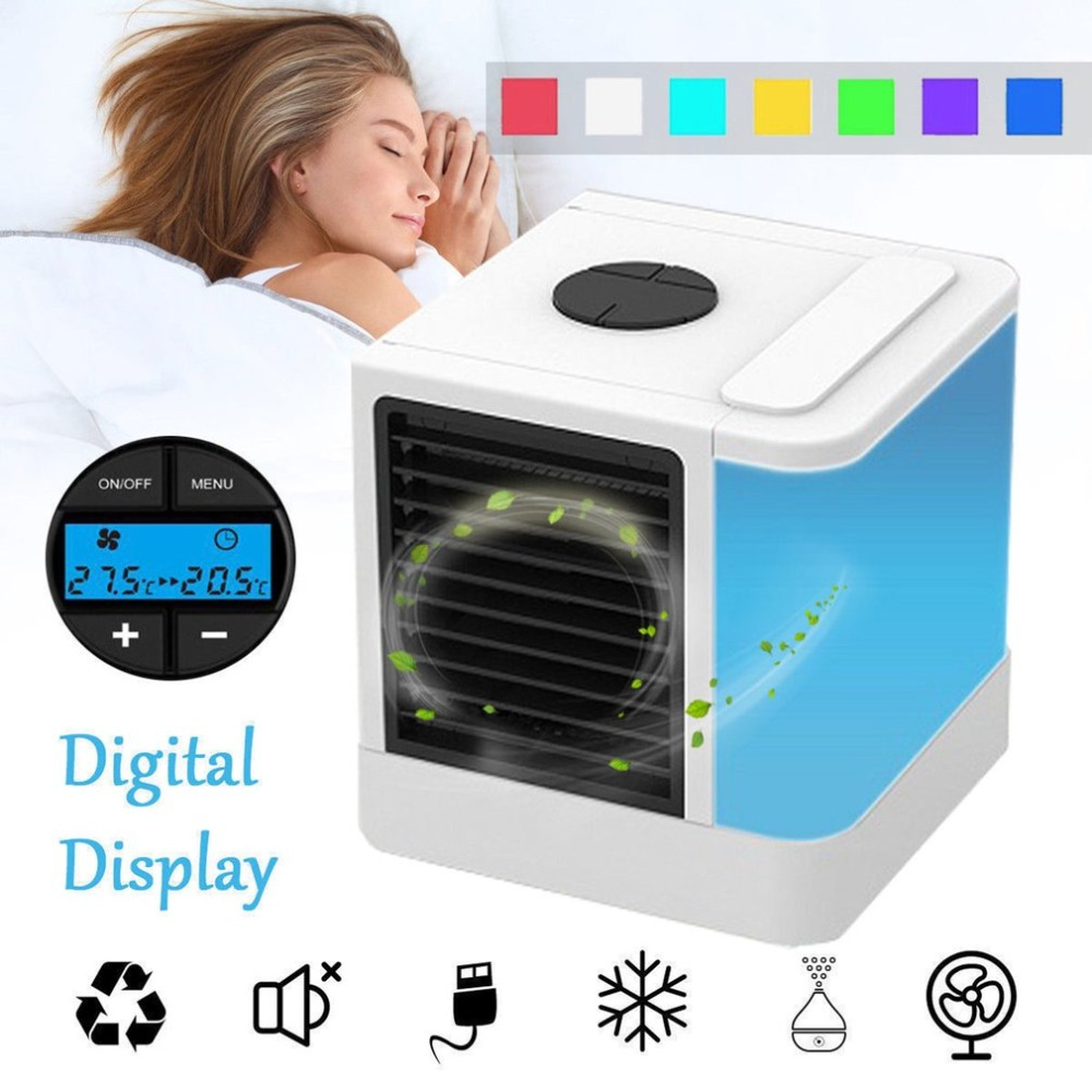 Summer 7 Colors Mini Air Conditioner Artic Air Cooler LED/LCD Timer USB Personal Space Cooler Fan Air Cooling Fan Device|Fans|   - AliExpress
