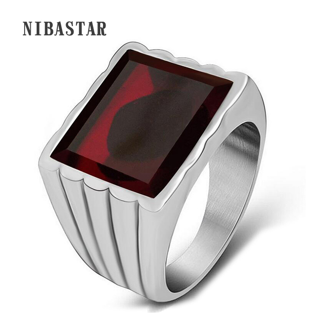 Hot Black Or Red Crystal Stone Luxury Men Wedding Ring Silver Plated Stainless Steel Punk