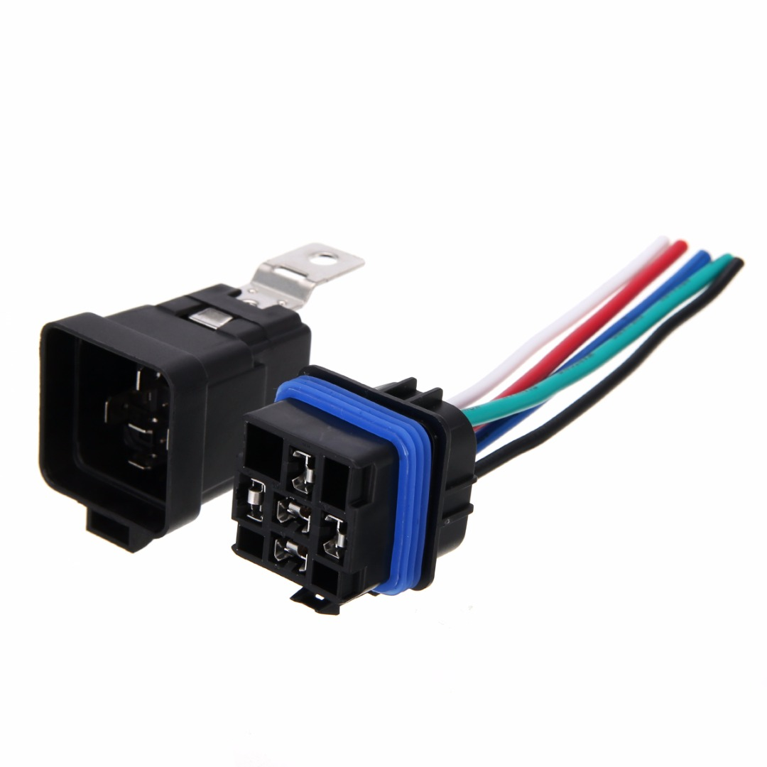 1 Set 5 Pin Automobile Relay Waterproof Integrated Wired Auto Relay + Holder With Wires DC 12v 40A