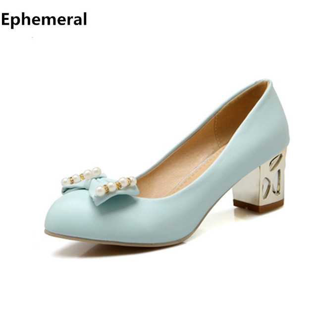 9bbb372c4d01 Lady s Sweet Bowtie Shoes Plus size 34-43 Round Closed Toe Single High  heels Shoes Square Thick Heel Women Pumps Sophia Webster