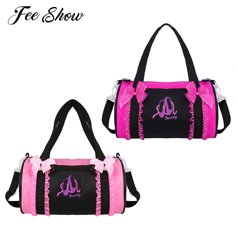 Kids Girls Adorable Ballet Dance Bag Pokla Dots Bowknot Ruffled Lace Embroidered Dancing Duffle Ballet Bag Hand Bag Shoulder Bag