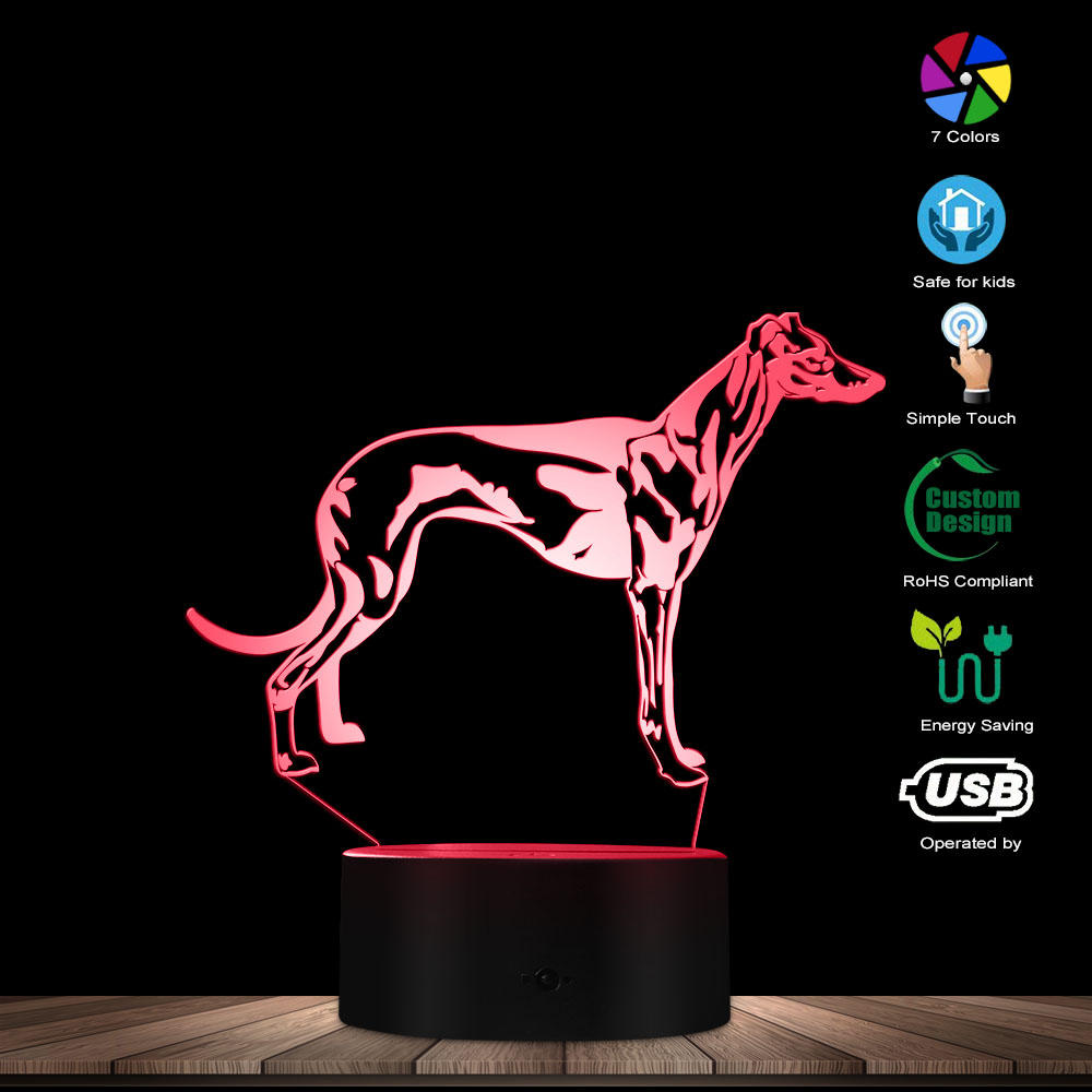 Hungary Vizsla Dog 3D  LED Night Light Dog Breeds Color Changing Desk Lamp Decorative Lighting Puppy Sleepy Light Dog Lover Gift