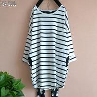 82 Plus size spring woman clothing loose 2017 T shirt stripe long sleeve basic shirt long autumn design t shirts