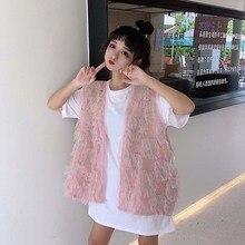 Women Casual Vintage lace vest Ladies 2019 Summer autumn Crochet Tassel preto Loose Solid Tops Pink