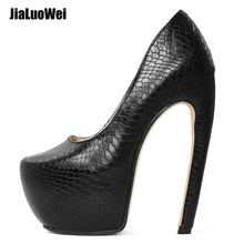 Women Pumps High Heels Built-in Curved Platform Shoes Sexy Black Snake Print PU Slip-On Shallow Female Size 36-46
