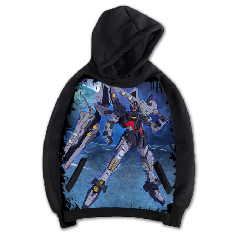 High-Q Unisex Anime Cos Print GUNDAM Punk Rock Pullover Hooded Hoodie Sweatshirts Jacket Coat Top