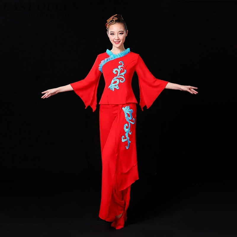 Chinese folk dance clothing pant suits Chinese dance costumes yango drum  fan stage dance wear outfit performance FF757 76dd6c7ce