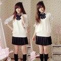 Niñas uniforme escolar dulce suéter chaleco 5 unidades establece el estilo británico de la escuela académica uniforme para el invierno sexy girls uniforme de marinero