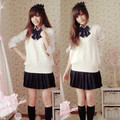 School uniform girls sweet sweater vest 5 piece set british style Academic school uniform for winter sexy girls Sailor  uniform