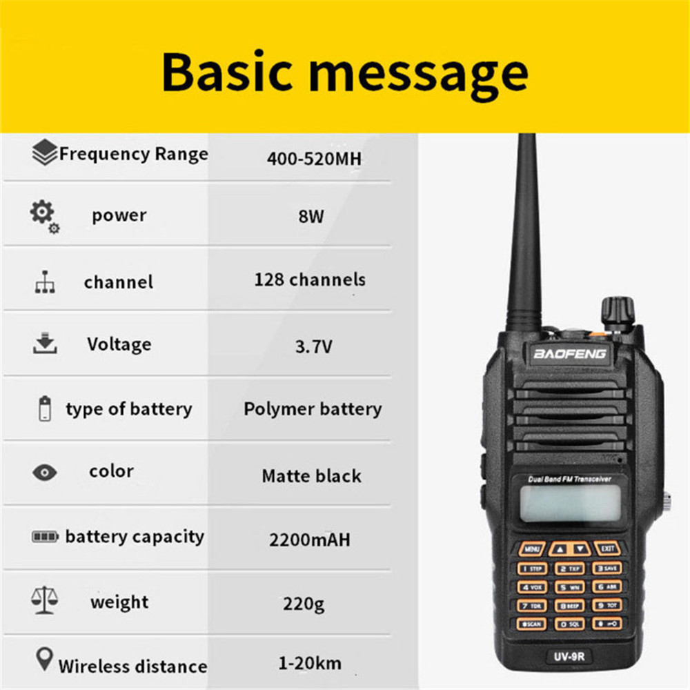 Image 5 - BF UV9R Walkie Talkie XJ 94 Baofeng Waterproof UV Dual Band Radio Antenna Manual Frequency Modulation Receiver Walkie talkie-in Walkie Talkie from Cellphones & Telecommunications