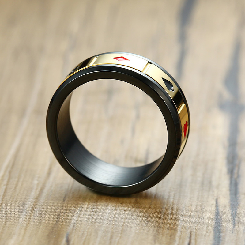 Stainless Steel Black Lucky Ring