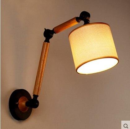 IWHD Vintage Wooden <font><b>LED</b></font> Wall Light Fixtures Adjustable Long Arm Wall Lamp Sconce Arandela <font><b>Aplik</b></font> Lamparas De Pared