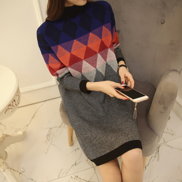 New Arrival Argyle Pattern Sweaters 2017 Fashion Turtleneck Long Sleeve Pullovers Women Korean Knitted Tops Plus Size C778