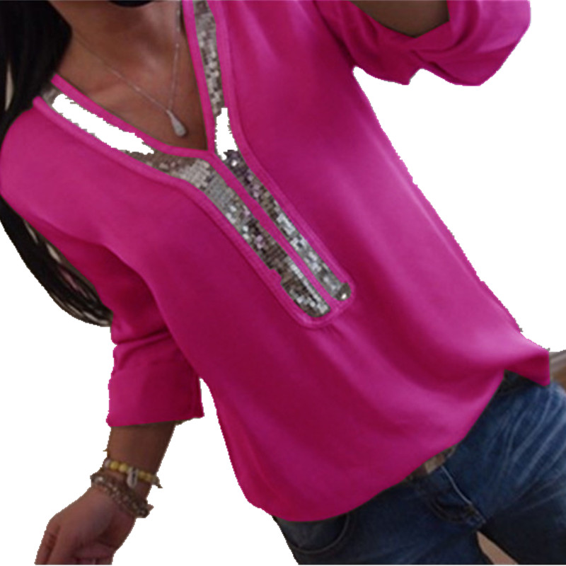 Plus Size 5XL 2019 Summer Top Women Shirts Blouses Long Sleeve Big Size Women Chiffon Blouse Solid Sequin Patchwork Shirts Blusa