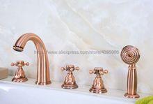 цена на Bathtub Faucet Deck Mounted 5 Hole Tub Sink Mixer Taps Cross Handles Roman Tub Faucet with Handshower Btf239