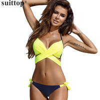 Suittop Bikini Sexy Women Swimwear Push Up Swimsuit Patchwork Bikini Halter Bathing Suit Bikini 2017 Swimming