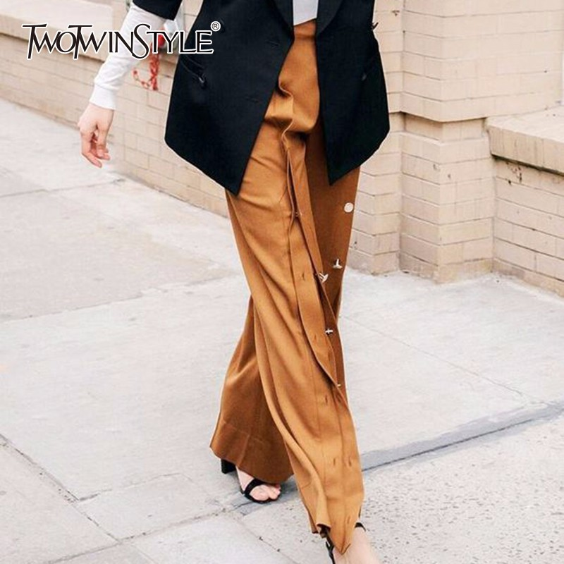 TWOTWINSTYLE Split   Wide     Leg     Pant   For Women High Waist Patchwork Metal Button Irregular Long Trouser Female Large Size Fashion OL
