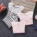 2017 muchachas del desgaste de manga corta camiseta de verano de encaje de cuello de rayas Camisetas tapas del algodón del bebé del niño de 0-6 años