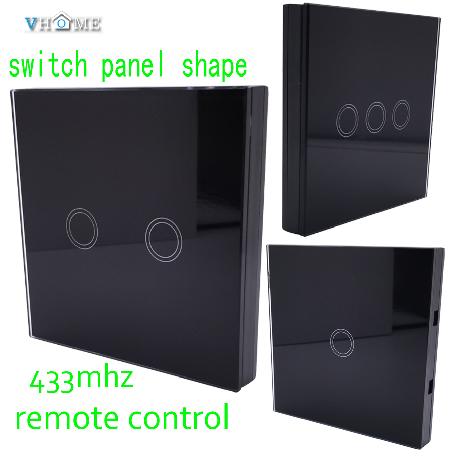 Vhome Smart Home wireless RF 433MHZ Switch panel Remote Control,for Control garage doors, touch switches,electric curtains smart home eu touch switch wireless remote control wall touch switch 3 gang 1 way white crystal glass panel waterproof power