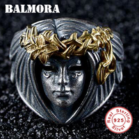 BALMORA 100% Real 925 Sterling Silver Goddess Gold Black Open Rings for Wen Lover Being Old Style Fashion Jewelry Anillos