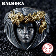 BALMORA Real 925 Sterling Silver Goddess Open Stacking Rings for Women Men Couple Original Punk Hip pop Jewelry Anillos Boy