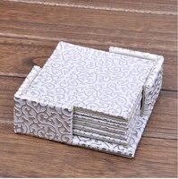 4 ''vierkante PU leateher koffie thee cup pad cup mat coaster placemat papier kanten kleedjes goud over wit 2141A