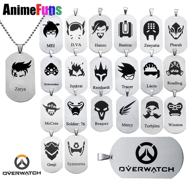 21 style Hot New Game Jewelry Pendants Necklace Tracer Reaper OW key Chains Entertainment Logo Key Holder Necklaces
