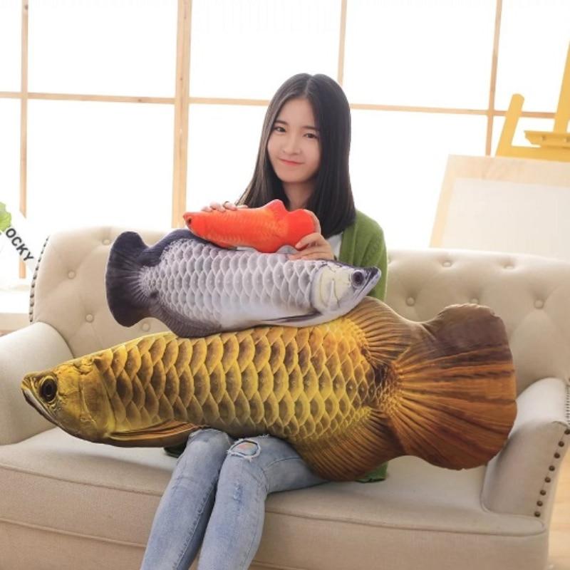60cm New 3D Simulation Gold Arowana Toy Kelisa Yellow Croker Lifelike Fish Shape Pillow 24in Creative Valentines Gift burroughs billy watson s croker sack