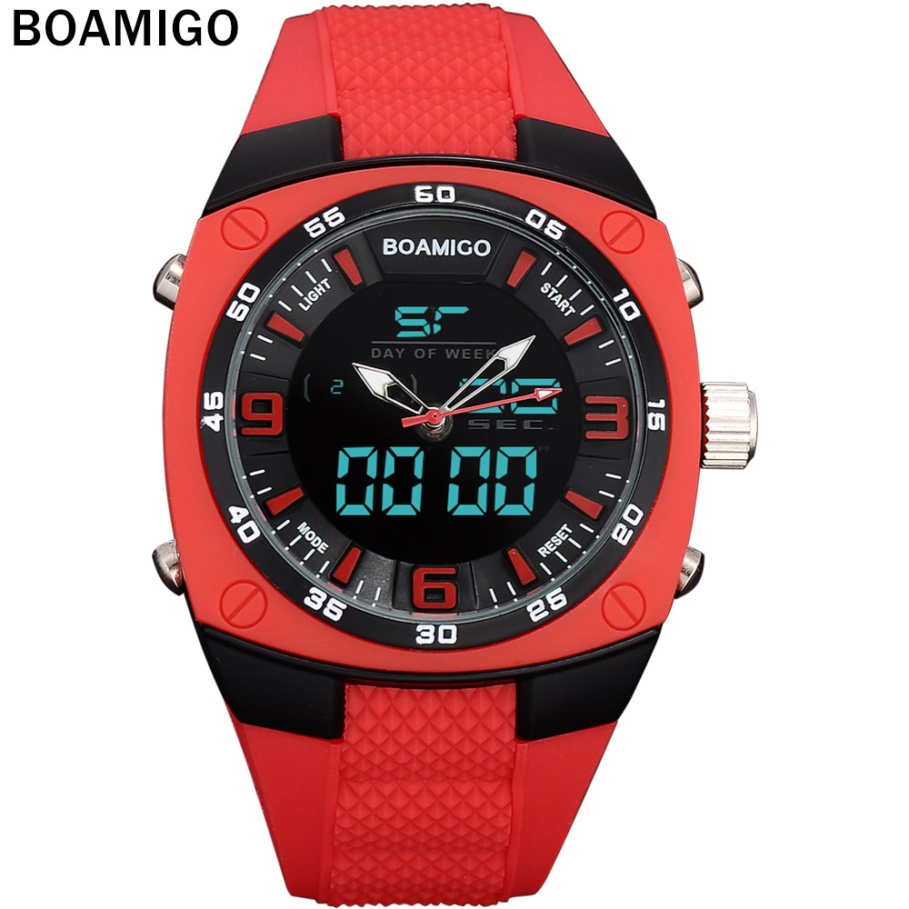 men sports watch military quartz watch dual disply LED display wristwatches BOAMIGO 30M Waterproof  Digital Watch rubber band pedometer heart rate monitor calories counter led digital sports watch fitness for men women outdoor military wristwatches