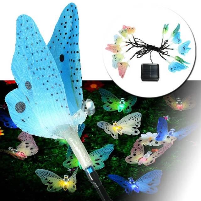 Mariposa 12 LLEVÓ Fibra Óptica Con Energía Solar LED Luz de Hadas de Navidad Luz de la Secuencia de Iluminación Al Aire Libre Garden Party Decor