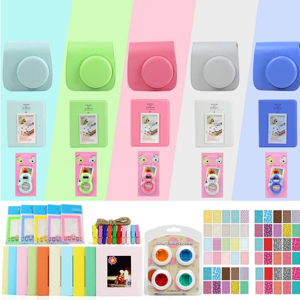 5 Color Accssories Bundle Set for Fujifilm Instax Mini 9 Instant Film Camera Including Carry Bag/Photo Album/Stickers/Lens/Frame