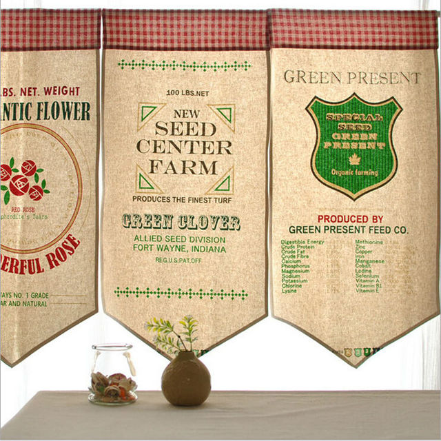 4pcs/lot European Vintage coffee shop Valance semi shade curtains ...