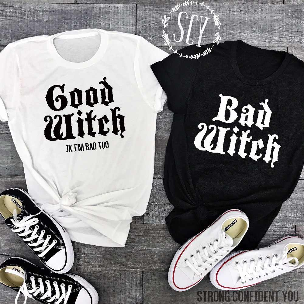 676fb83a2c130 Lei-SAGLY Couple T-Shirts BAD WITCH GOOD WITCH Letter Printed Top Tee Shirt