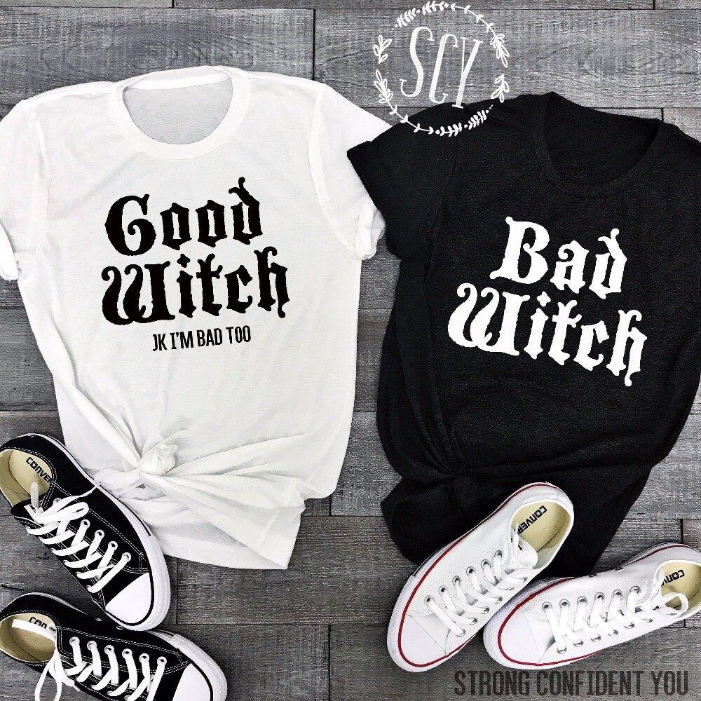 Camisetas de pareja Lei-SAGLY BAD WITCH GOOD WITCH Letter impreso Top camiseta mujer Casual mejor amigo Halloween camisetas