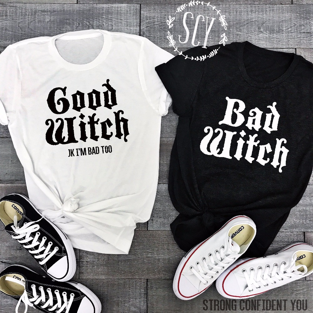 Lei-SAGLY Couple T-Shirts BAD WITCH GOOD WITCH Letter Printed Top Tee Shirt Femme Casual Female Best Friend Halloween Tops Tees