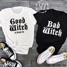 Lei-SAGLY Couple T-Shirts BAD WITCH GOOD WITCH Letter Printe