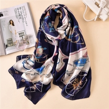 LARRIVED 2019 New Silk scarfs for ladies Fashion Satin Shawl Scarfs Big Size 180*90cm  silk Head Scarves Women bandana