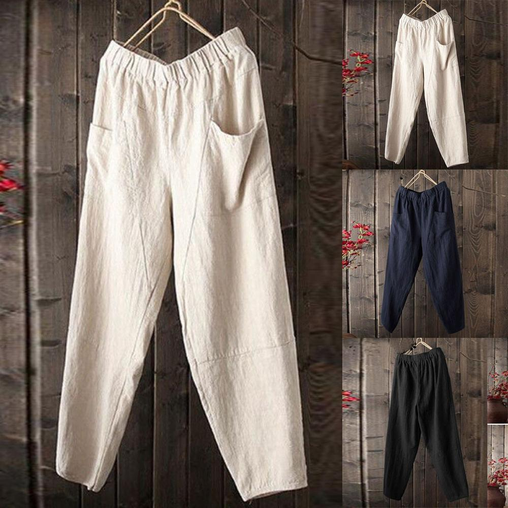Men's Summer New Style Simple And Fashionable Pure Cotton And Linen Trouse Loose Pant Vintage Hip Hop Baggy Full Length Pants
