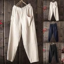 Pantalones holgados de algodón puro y lino para hombre, novedad de verano, estilo Simple y a la moda, Vintage, Hip Hop, Pantalones largos