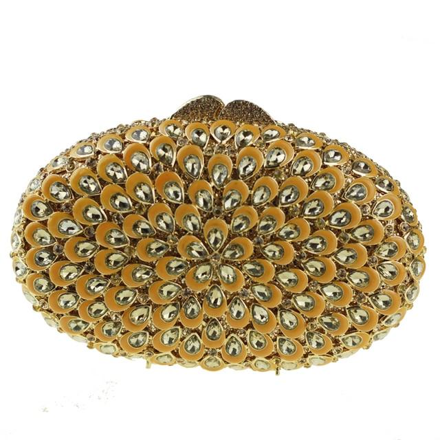 e1f1d36ff7 Oval-shaped Wedding Clutch Gold Evening Bag for Women Yellow Crystal Clutch  Purse Hard Rhinestone