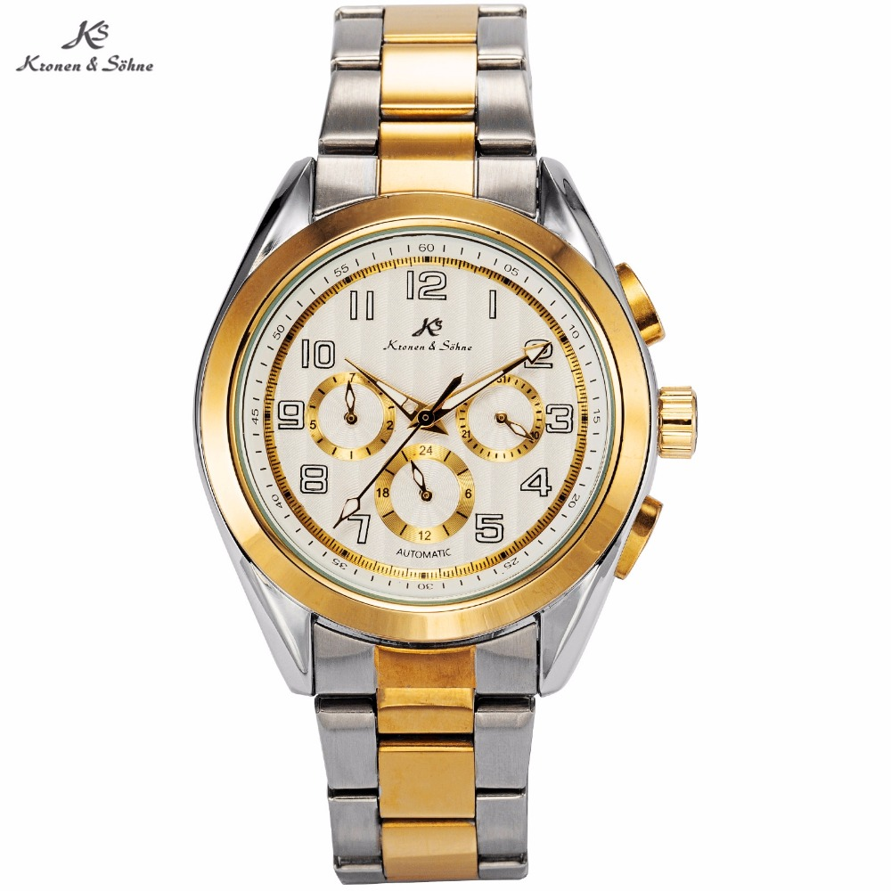 KS Brand Montre Automatic Mechanical Watches Silver Gold Steel Band Date Day Clock Relojes Hombre Self Wind Luxury Watch / KS290 ks luxury automatic self wind date day 24 hours black 3 dial steel strap mechanical wrist watches mens gents timepieces ks307