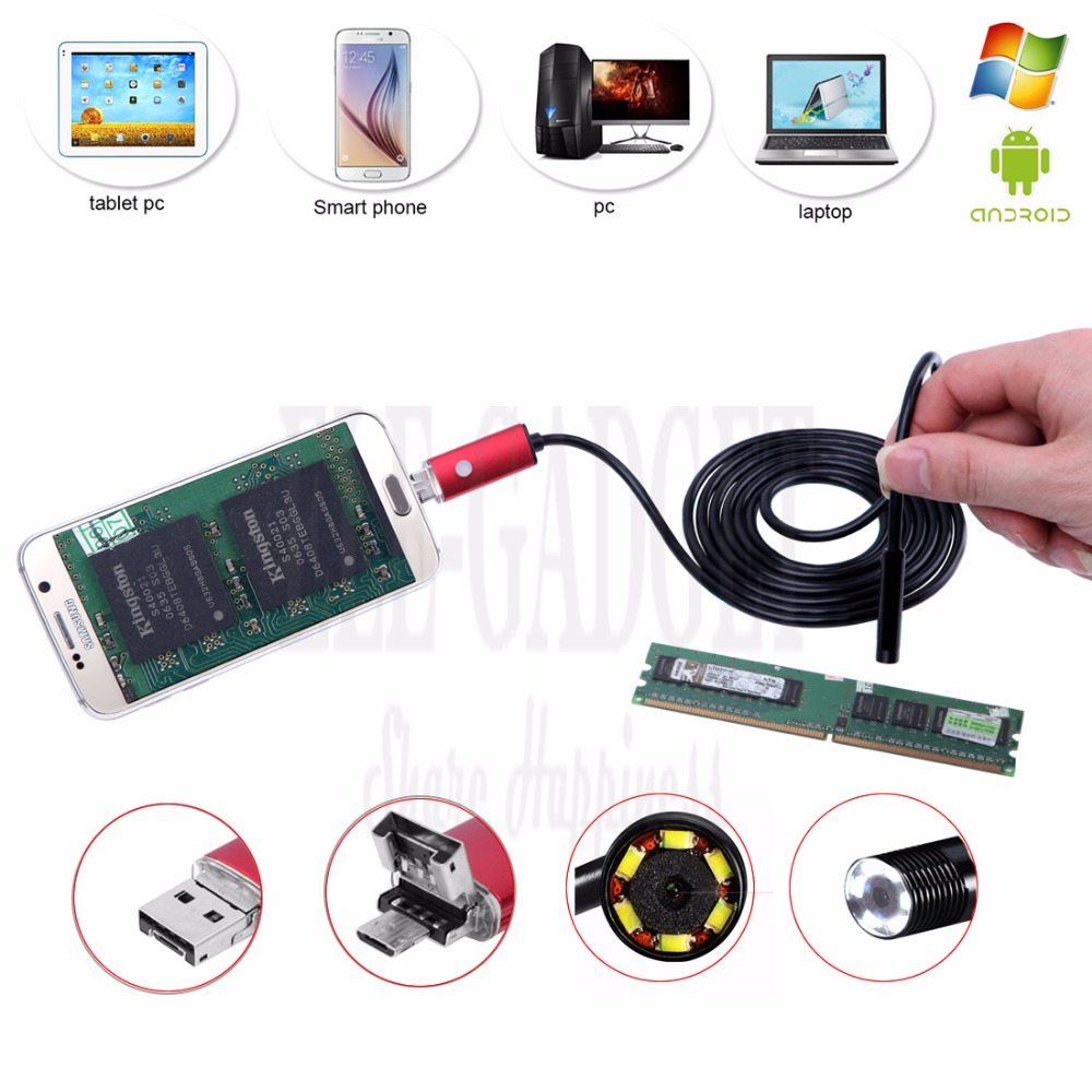 2-5-10M Red 2-In-1 Android Endoscope Camera Connector Android Borescope Inspection Camera For Car Repairing Pipe Examine PC