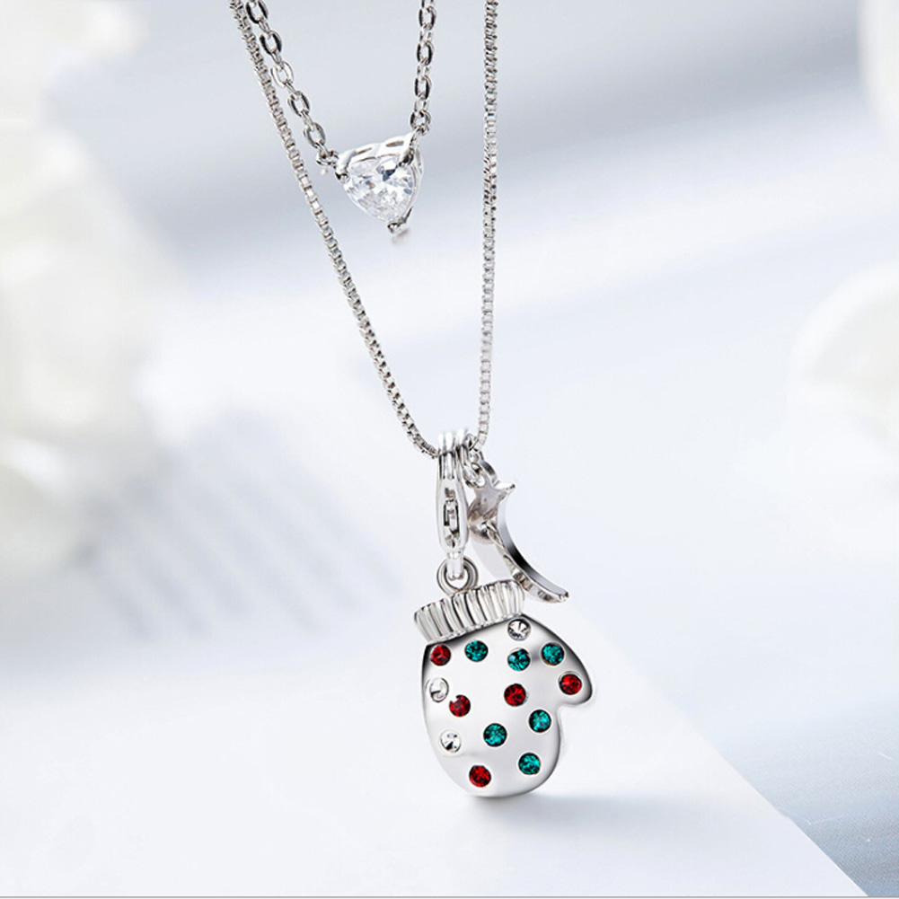 Christmas Fashion Simple Color Double Layer Chain Resin Beads Sequins Necklace For Women Best Gift
